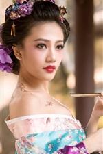 Preview iPhone wallpaper Beautiful Japanese girl, tattoo, kimono, geisha, smoke tube