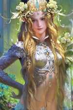Preview iPhone wallpaper Beautiful fantasy girl, blonde, flowers, decoration