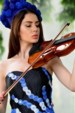 Preview iPhone wallpaper Beautiful long hair girl play violin