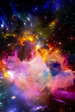 Preview iPhone wallpaper Beautiful universe, colorful, stars, starry, shine light
