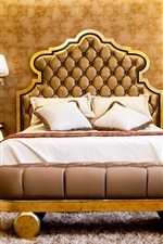 Preview iPhone wallpaper Bedroom, luxury style, bed, lamps