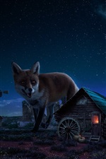 Preview iPhone wallpaper Big foxes and small house, art picture