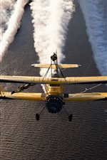 Preview iPhone wallpaper Biplanes, aircraft, flight show, river, smoke