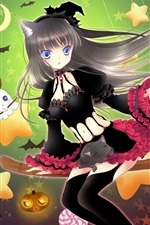 Preview iPhone wallpaper Black skirt anime girl, broom flying, witch, stars