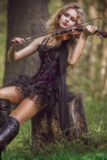 Preview iPhone wallpaper Black skirt girl play violin in forest