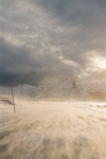 Preview iPhone wallpaper Blizzard, snow, mountains, road