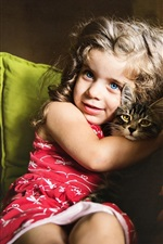 Blue eyes little girl and cat