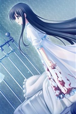 Preview iPhone wallpaper Blue hair anime girl, room, blood