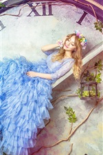 Preview iPhone wallpaper Blue skirt girl, big clock