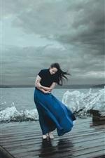 Blue skirt girl, sea, waves, coast, wind