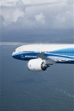 Preview iPhone wallpaper Boeing 787 plane flying, sea