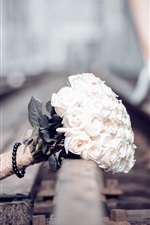 Preview iPhone wallpaper Bouquet, rose, railroad
