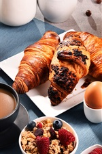 Breakfast, croissants, muesli, coffee, milk, orange juice, apples
