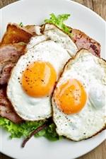 Breakfast, eggs, meat