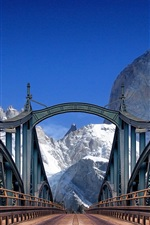 Preview iPhone wallpaper Bridge, road, mountains, blue sky