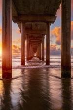 Preview iPhone wallpaper Bridge, sea, sunset