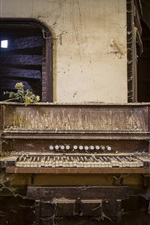 Broken piano, dust