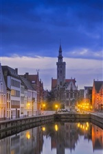 Preview iPhone wallpaper Bruges, Belgium, city, river, night, lights, houses