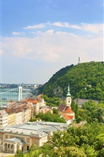 Preview iPhone wallpaper Budapest, Danube river, city, houses, bridge, trees, sky, clouds