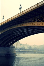 Preview iPhone wallpaper Budapest, bridge, river, city, morning