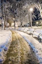 Preview iPhone wallpaper Bulgaria, night, snow, park, bench, cold winter