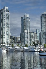 Preview iPhone wallpaper Canada, Vancouver, British Columbia, Yaletown, port, yachts, city buildings