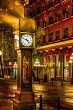 Preview iPhone wallpaper Canada, Vancouver, street, night city, big clock, lights