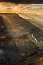 Canyon, sky, clouds, dusk, sun rays, USA