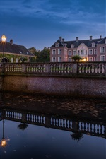 Preview iPhone wallpaper Castle Ampsen, Netherlands, river, bridge
