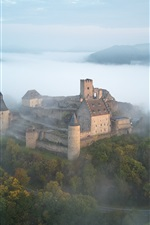 Castle, fog, mountains, trees, morning, top view