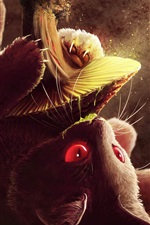 Preview iPhone wallpaper Cat play mushroom, art picture