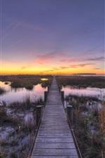iPhone fondos de pantalla Chesapeake, camino de madera, bahía, puesta del sol