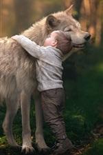 Preview iPhone wallpaper Child boy hug wolf, friendship