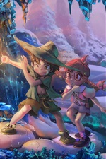 Preview iPhone wallpaper Child, girl and boy, snow, winter, magic, art picture