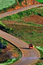 China, yunnan, estrada, campos, campo