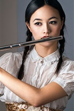 Preview iPhone wallpaper Chinese girl play flute, braid