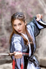 Preview iPhone wallpaper Chinese retro style girl use sword