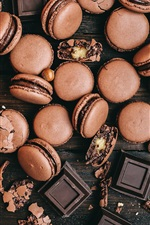 Preview iPhone wallpaper Chocolate macaroon, spoon, nuts