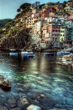 Preview iPhone wallpaper Cinque Terre, Italy, rocks, stones, sea, boats, houses, sunset