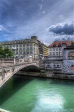 City, river, bridge, houses, clouds