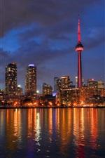 Cityscape, night, skyline, lights, river, tower