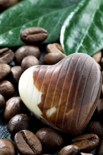 Coffee beans, chocolate candy