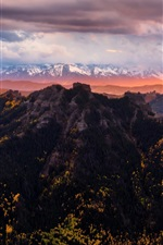 Preview iPhone wallpaper Colorado, United States, mountains, trees, clouds, sunset