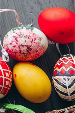 Preview iPhone wallpaper Colorful Easter eggs, twigs, holiday