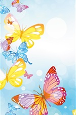 Preview iPhone wallpaper Colorful butterflies, circles, blue background