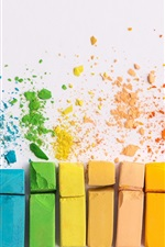 Preview iPhone wallpaper Colorful chalks, white background