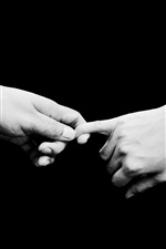 Preview iPhone wallpaper Couple hands, love, tenderness, black background