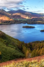 Cumbria, France, mountains, lake, trees, grass, clouds