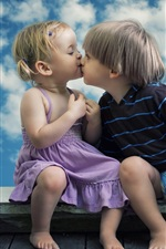 Preview iPhone wallpaper Cute child girl and boy, kiss, window, clouds