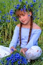 Preview iPhone wallpaper Cute child girl, blue flowers, grass